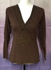 Fifi Collection Top, Medium, Brown, Cotton Blend, Long Sleeve
