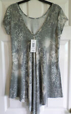LADIES TOP by PAPAYA, CAP SLEEVE, UK SIZE 8, GREY & WHITE, NEW WITH TAGS