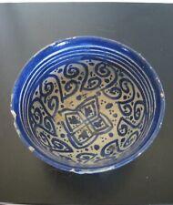 Bol Perse en céramique siliceuse - 18ème siècle Kadjar IRAN Qadjar bleu blanc