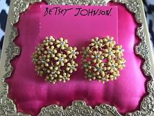 Betsey Johnson Summer Of Love Yellow Lucite Flower Daisy Bouquet Stud Earrings