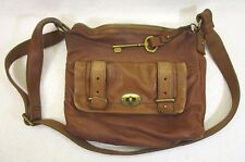 Fossil Tan Brown Leather Shoulder Bag Handbag Purse With Giant Fossil Key