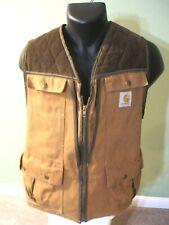 Vintage Carhartt Brown Duck Hunting Full Zip Vest w/ Game Bag USA Made VU036 LG