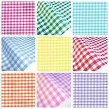 "Gingham Polycotton Fabric 1/4"" Checked Material 112cm 44"" wide Sewing Curtains"
