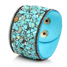Women Punk Crystal Rhinestone Faux Leather Bracelet Bangle Wrap Wristband CUF RU Blue