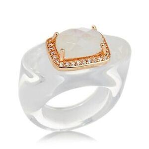 HSN Rarities Fine Jewelry Brodie Rose Vermeil Gemstone Hololith Ring Sizie 7