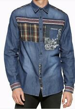 DESIGUAL MAN DENIM  SHIRT BLUE MULTI COLOR SIZE L,M ARE AVAILABLE