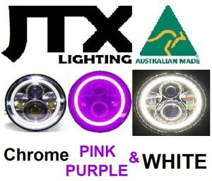 "7"" Chrome Headlights PURPLE and WHITE Halo  Dodge Plymouth Breeze Phoenix"