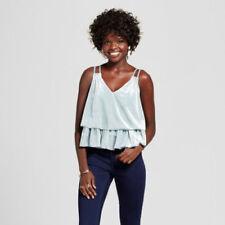 NEW Women's Xhilaration Velvet Double Tier Tank Top Mint Blue Sage Size XXL