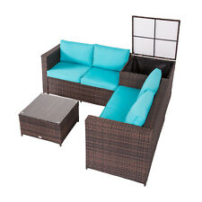 All-Weather 4Pc Rattan Patio Sofa Furniture Set Storage Table Outdoor Lawn Deck