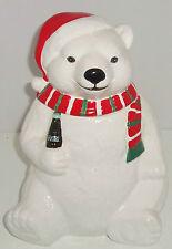 Coca Cola Coke Polar Bear Cookie Jar Santa Hat Ceramic 1996 Vintage