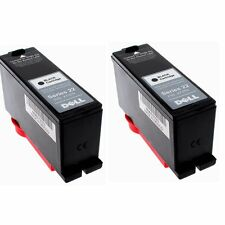 2PK Genuine Black Ink Cartridge for Dell Series 21 22 23 24 V515w V313w V3