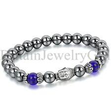 Fashion Men Women 8mm Beads Tibetan Buddha Lucky Cuff Wristband Bracelet Bangle