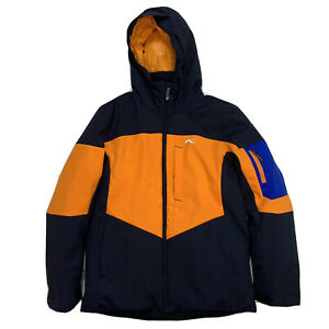 Boys 12 KJUS Black / Yellow / Blue Insulated Hooded Winter Sports FRX Jacket