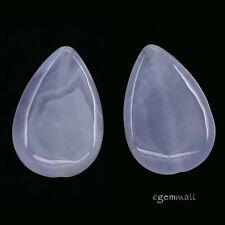2 Blue Chalcedony Agate Flat Pear Pendant Beads ap. 20x30mm #59080