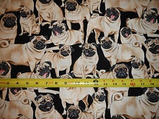 Pug pugs dog dogs pup puppies black background Timeless GM C 2488 cotton fabric