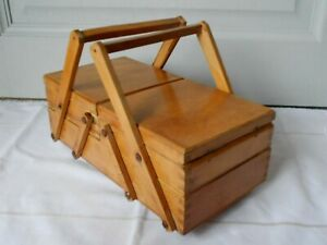 FRENCH Vintage Wood Accordion SEWING  Box