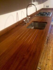 Bespoke Kitchen Worktops - Reclaimed Wood - Iroko Sourced From Science Lab tops