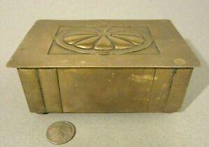 Antique ARTS & CRAFTS WMF Germany Hand Hammered Brass Bronze Wood Trinket Box