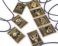 8pcs One Piece Wanted Necklace Luffy Law Chopper Nami Zoro Wanted Cosplay Set