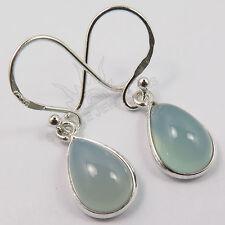 Pretty Earrings Genuine AQUA CHALCEDONY Pear Gemstones 925 Solid Sterling Silver