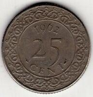 1962 SURINAME TWENTY FIVE 25 CENTS NICE WORLD COIN