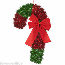 33.5cm Merry Christmas Red Green CANDY CANE Tinsel Door Wall Plaque Decoration