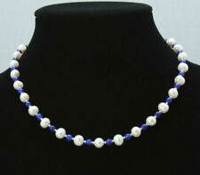 """Natural 7-8mm White Akoya Freshwater Pearl & 6mm Blue Sapphire Necklace 18"""""""
