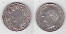 WURTTEMBERG GERMANY - RARE SILVER 1 GULDEN COIN 1851 YEAR KM#574