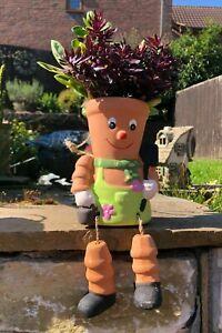 MEDIUM Terracotta Pot Man Planter Bill & Ben Style Hanging Garden Ornament NEW