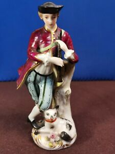 Antique German Figurine Musican with Dog Hand Painted