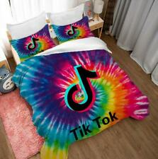 3D Tik Tok Duvet Cover Bedding Set Watercolor Comforter Quilt Cover Pillowcase