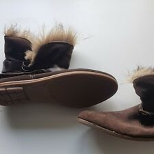 Next Ladies Brown Faux Fur Foldover Lined Boots Womans Size 6