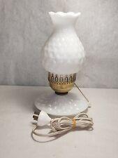 Vintage Milk Glass Electric Chimney Bedside Boudoir Lamp