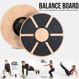 WOODEN FITNESS WOBBLE BALANCE BOARD Yoga Exercise Training Workout Non Slip 40cm