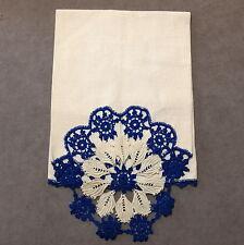 New listing * Linens Towel Dish Cotton Kitchen Vintage Crochet Pique Chaulk White Blue