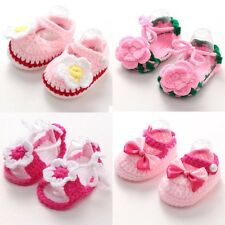 Newborn Girls Handmade Crib Crochet Knit Casual Shoes Baby Infant Sock Soft Sole