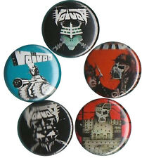 Voivod: Set of 5 Pins-Buttons-Badges Thrash Metal - Korgull - War & Pain