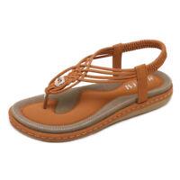 Women's Rhinestone Flat Sandals Glitter Shoes Bohemian Summer Beach T-Strap Flip