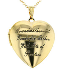 Grandmother Locket Necklace Pendant Heart Love Photo Remembrance 19""