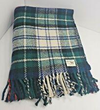 "Hilltop Tartan 100% Wool Lap Blanket Made in Scotland 51"" x 26"" Green White Blue"