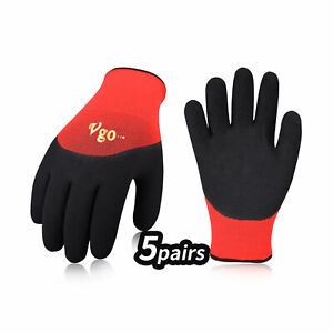 Vgo 5-Pairs Freezer Winter Heavy Duty Work Gloves, Double Lining (RB6032)