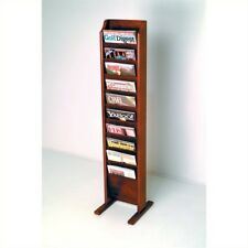 Pemberly Row Standing 10 Pocket Magazine Rack in Mahogany