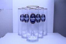 German Gaffel Kolsch Beer Glass Gold Trim * Set of 6 Glasses *