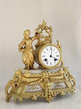 Antique 1860 French Clock Gracieus Statue Romantic Alabaster