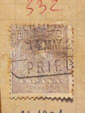 N°332 Timbre oblitéré à décoller BE Espagne 1922 Alfonso 20c lilas