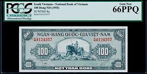 100 Đồng South Viet Nam - National Bank SCWPM# 8a PCGS Gem New 66 PPQ