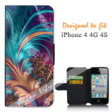 Apple iPhone 4 4G 4S Wallet Flip Phone Case Cover Beautiful Feather Y00798