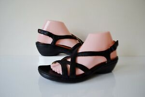 """CLARKS """"UN SPIRE"""" BLACK LEATHER/LEATHER LINED UNSTRUCTURED SANDALS UK6.5 RRP £69"""