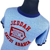 VINTAGE Jeddah Saudi Arabia Red Sea Dive School Blue Ringer Tee T-Shirt Mens XL