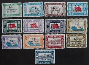 RARE 1939 Turkey (Hatay) lot of postage stamps with O/Ps Mint